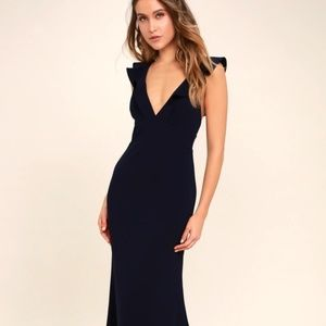 Lulu's Perfect Opportunity Navy Blue Maxi Dress